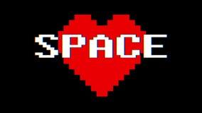 映象点心脏空间词文本小故障干涉屏幕无缝的圈动画背景新的动态减速火箭的葡萄酒 库存例证
