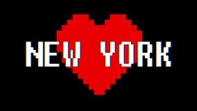 映象点心脏纽约词文本小故障干涉屏幕无缝的圈动画背景新的动态减速火箭的葡萄酒 库存例证