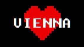 映象点心脏维也纳词文本小故障干涉屏幕无缝的圈动画背景新的动态减速火箭的葡萄酒 皇族释放例证