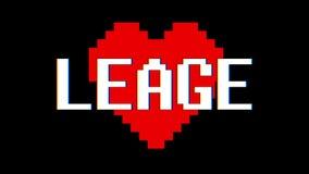 映象点心脏Leage词文本小故障干涉屏幕无缝的圈动画背景新的动态减速火箭的葡萄酒 股票视频