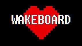 映象点心脏WAKEBOARD词文本小故障干涉屏幕无缝的圈动画背景新的动态减速火箭的葡萄酒 皇族释放例证