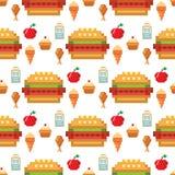 映象点艺术食物计算机设计无缝的样式背景传染媒介例证餐馆pixelated元素快餐 库存例证