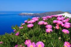 春天、破火山口和Oia,圣托里尼,希腊 免版税库存图片