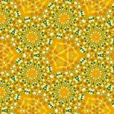 春天上色春黄菊和蒲公英的连续的几何样式在黄色和白色 免版税库存图片