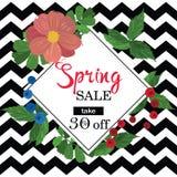 春天与五颜六色的花和黑框架的销售横幅 免版税库存图片