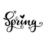 春天与心脏的贺卡 传染媒介被隔绝的例证:刷子书法,手字法 激动人心 库存图片