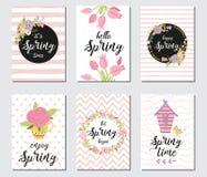 春天与春天行情的卡集,书法,花,花圈 传染媒介横幅模板 免版税库存图片
