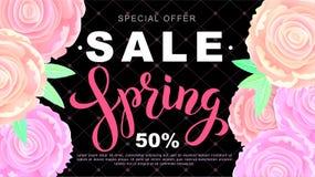 春天与玫瑰色花的销售横幅在黑背景 向量 库存照片