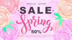 春天与玫瑰色花的销售横幅在黑背景 向量 免版税图库摄影