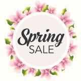 春天与精美桃红色花的销售图表 库存例证