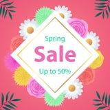 春天与美丽的五颜六色的花的销售背景 库存图片