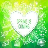 春天与花的心脏卡片。可以使用传染媒介例证, 库存照片