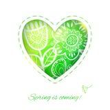 春天与花的心脏卡片。 免版税库存照片