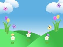 春天与郁金香蝴蝶蓝天绿草的庭院背景和与拷贝空间的云彩例证 库存图片