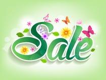 春天与蝴蝶、叶子和花的销售词 免版税图库摄影