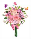 春天在白色背景的花花束 免版税库存图片