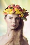 春天五颜六色的女性特写镜头  图库摄影