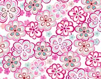 春天五颜六色的无缝的花卉样式 免版税库存照片