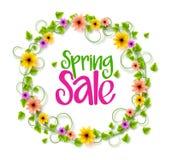 春天五颜六色的现实传染媒介花和藤销售花圈  库存例证