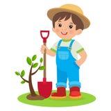春天从事园艺 生长年轻花匠 有铁锹的逗人喜爱的动画片男孩 图库摄影