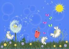 春天传染媒介有太阳的 皇族释放例证