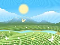 春天农厂风景 向量例证