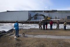 春天冰打破-口岸希望的,安大略Ganaraska河 免版税库存图片