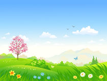春天动画片风景 库存例证