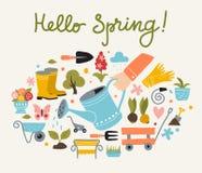 春天和从事园艺的海报模板 免版税库存照片