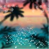 春天和夏天水彩海洋背景与发光的火花和bokeh 传染媒介例证,图形设计编辑可能为您 免版税库存图片