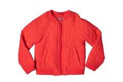 春天和秋天的儿童的夹克 时髦的红色温暖的下来ja 免版税图库摄影