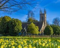 春天圣尼古拉斯教会,Chawton,汉普郡,英国 图库摄影