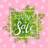 春天在绿色叶子的销售消息 库存例证