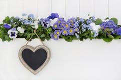 春天在蓝色和紫罗兰色的花背景与心脏的标志 免版税库存照片