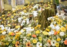 春天在黄色的花的布置,橙色白色 免版税图库摄影