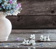 春天在黑暗的木背景的花瓶开花 免版税图库摄影