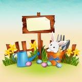春天复活节与逗人喜爱的兔宝宝、花和鸡蛋的动画片背景 库存例证