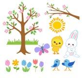 春天复活节庭院 快乐的朋友招呼春天 免版税图库摄影