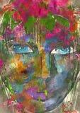 春天妇女画象 额嘴装饰飞行例证图象其纸部分燕子水彩 免版税图库摄影