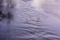 春天小河流经柏油路 r 库存图片