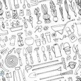 春天庭院乱画无缝的样式 概述工具,植物 图库摄影