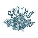 春天开花乱画 手拉和被绘的纹理 传染媒介b 免版税库存照片