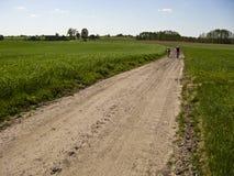 春天或夏天土道路的骑自行车者 库存照片