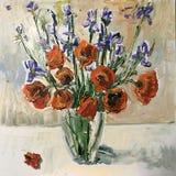 春天或夏天鸦片花束图画  库存照片
