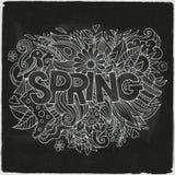 春天手字法和乱画元素 图库摄影