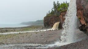 春天新斯科舍海岸线在6月 从峭壁的瀑布在岩石Pebble海滩上 库存图片