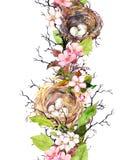 春天无缝的边界-巢,鸡蛋,花,分支,春天离开 水彩 库存例证