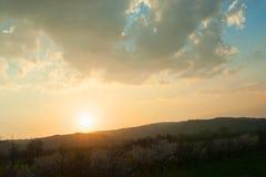 春天日落风景 库存照片