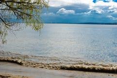 春天早晨风研在含沙河海岸的沙子 库存图片