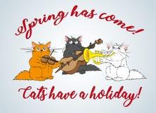 春天来 传染媒介套逗人喜爱的春天猫 向量例证